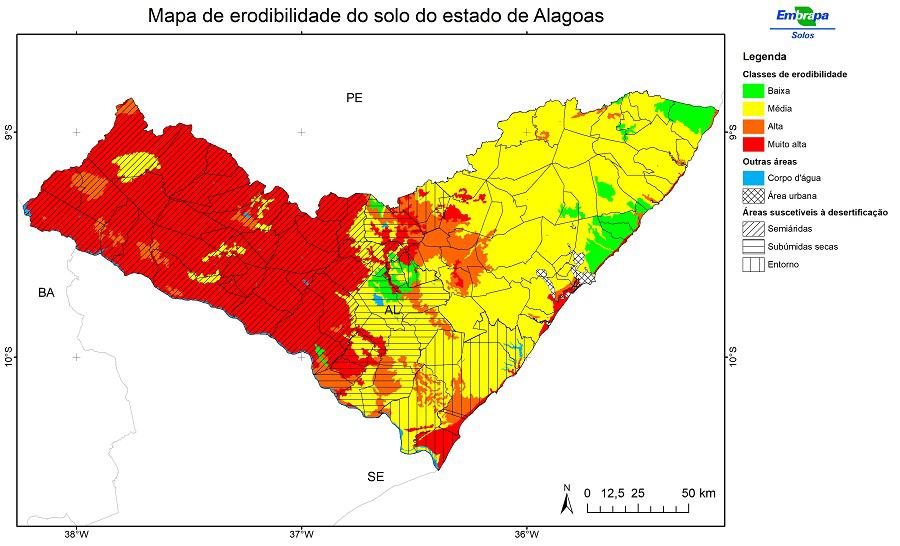 Pesquisa gera mapas de áreas suscetíveis e vulneráveis à erosão hídrica em Alagoas