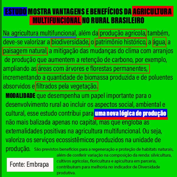 ESTUDO MOSTRA VANTAGENS E BENEFÍCIOS DA AGRICULTURA  MULTIFUNCIONAL NO RURAL BRASILEIRO